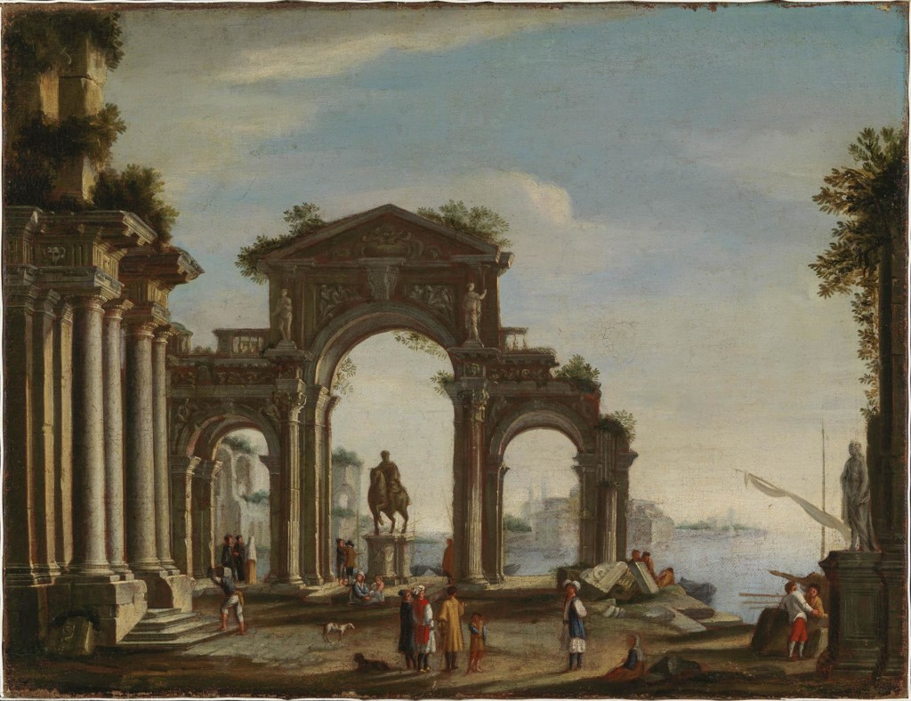 Port scene with statues and antique ruins.