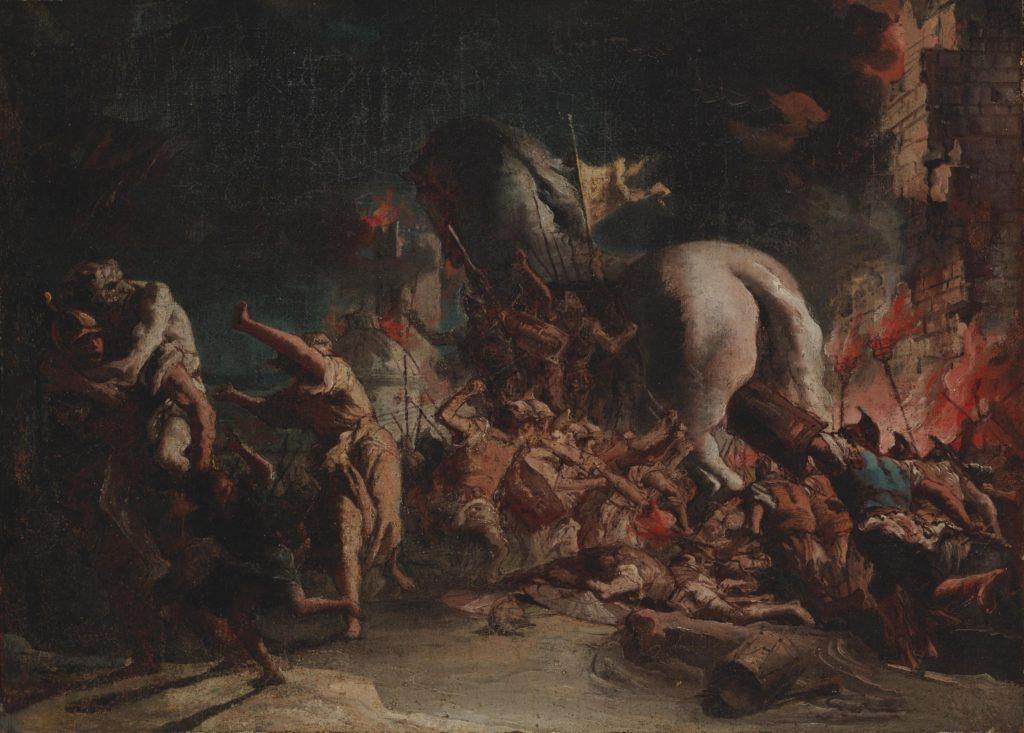Punaisen ja sinisen sävyinen maalaus hyökkäyksestä Troijaan. Troijan hevonen kuvattu takaa sivusta.