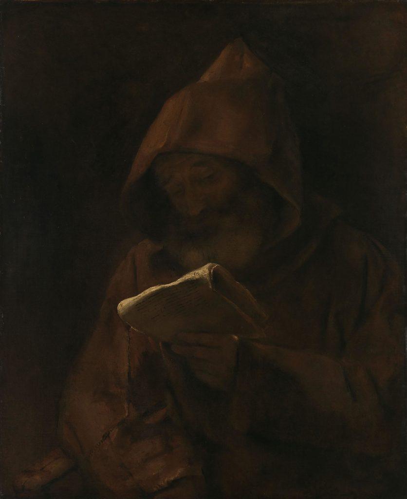 Maalaus. Ruskeakaapuinen munkki lukee paperikääröä hämärässä.