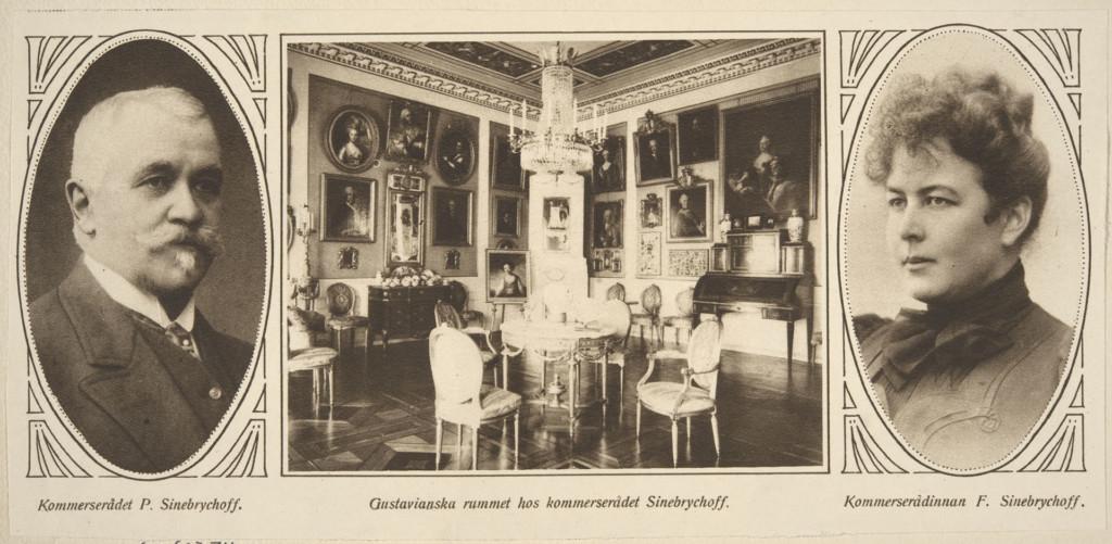 Mustavalkoinen lehtileike. Vasemmalla Paul Sinebrychoffin muotokuva, oikealla Fanny Sinebrychoffin muotokuva. Keskellä kuva talon Kustavilaisesta salista.