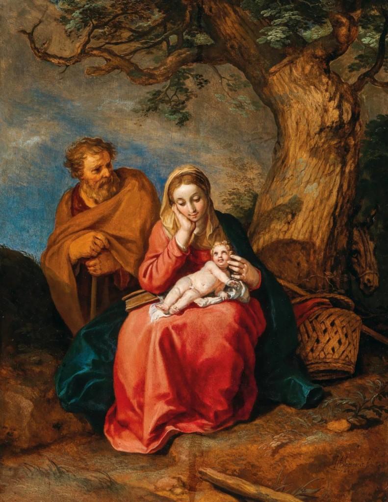 Öljyvärimaalaus. Joosef ja Neitsyt Maria ja Jeesus-lapsi viettävät lepohetkeä suuren puun varjossa.
