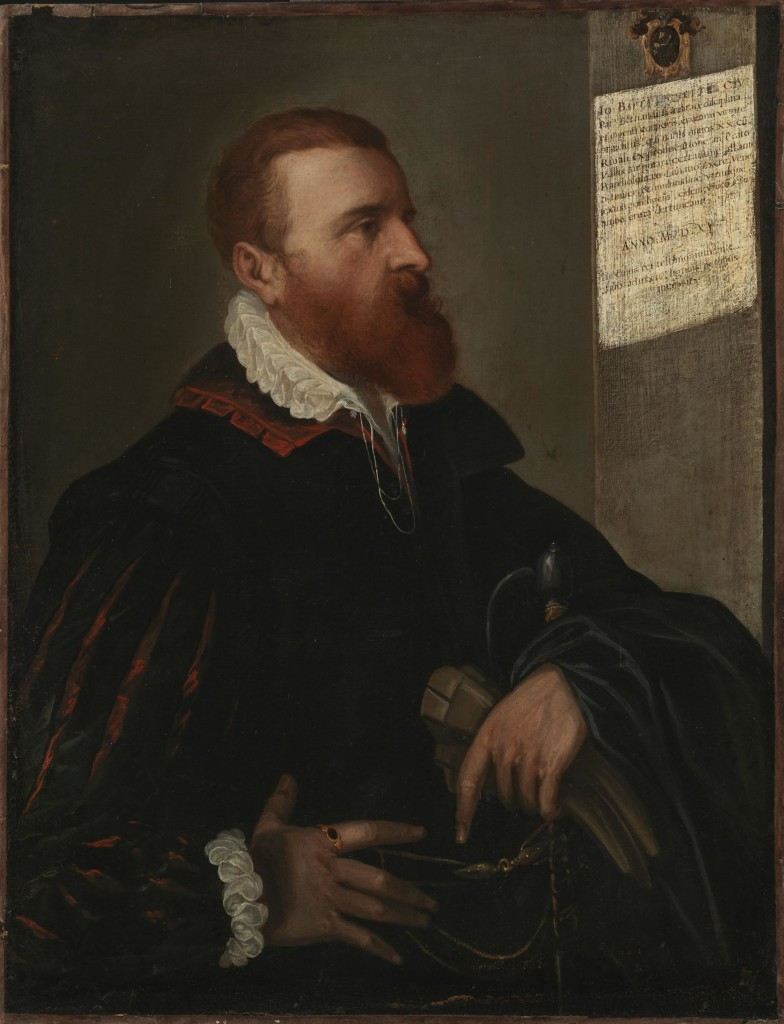 Portrait of man with red beard in a blck tunic with red collar holding a black cape, a sword and a pair of gloves.